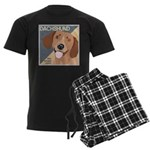 Dachshund-Kiss.Snuggle.Repeat. Men's Dark Pajamas