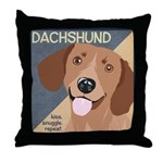 Dachshund-Kiss.Snuggle.Repeat. Throw Pillow