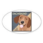 Dachshund-Kiss.Snuggle.Repeat. Sticker (Oval 10 pk