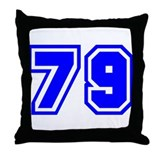 Varsity Uniform Number 79 (Blue) Throw Pillow