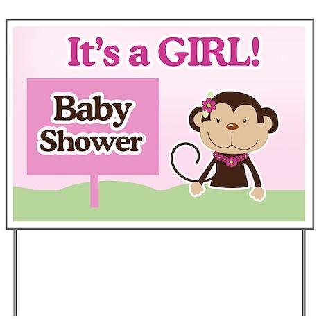 baby shower yard signs it 39 s a girl monkey baby shower yard