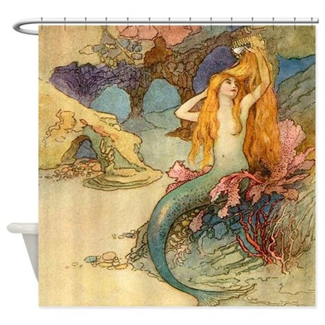 Mermaid combing her hair vintage shower curtain