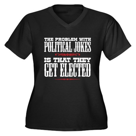 Political Jokes Get Elected Women's Plus Size V-Ne