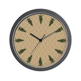 Pine Tree Damask Wall Clock