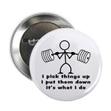 Stick Figure Body Builder 2.25&quot; Button (100 pack)