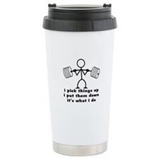 Stick Figure Body Builder Travel Mug