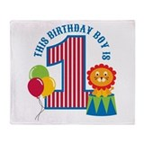 Circus 1st Birthday Throw Blanket