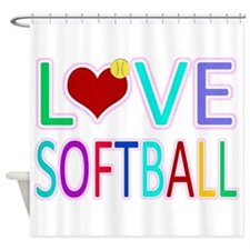 LOVE SOFTBALL Shower Curtain