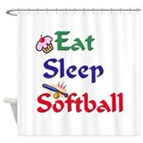 Eat Sleep Softball Shower Curtain