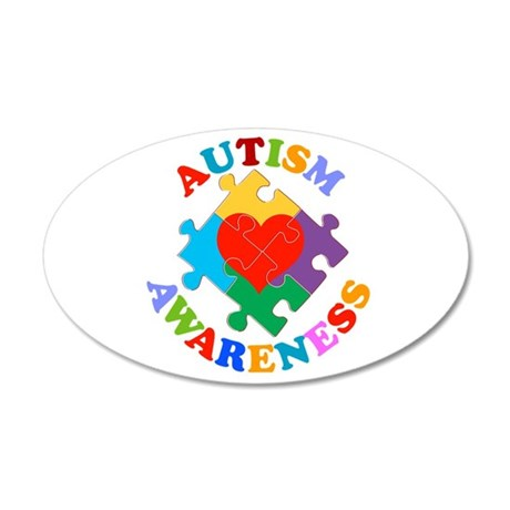 Autism Awareness Heart 20x12 Oval Wall Decal