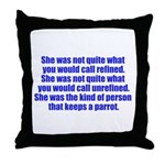 keeps parrot text only Throw Pillow