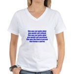 keeps parrot text only Women's V-Neck T-Shirt