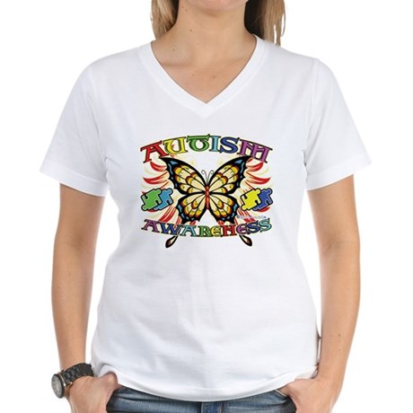 Autism Awareness Butterfly Women's V-Neck T-Shirt