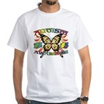 Autism Awareness Butterfly White T-Shirt