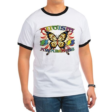 Autism Awareness Butterfly Ringer T