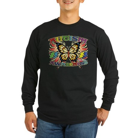 Autism Awareness Butterfly Long Sleeve Dark T-Shir