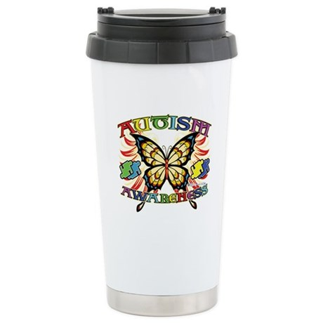 Autism Awareness Butterfly Ceramic Travel Mug