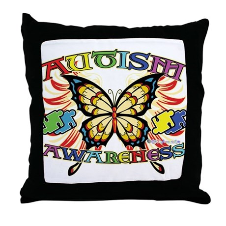 Autism Awareness Butterfly Throw Pillow