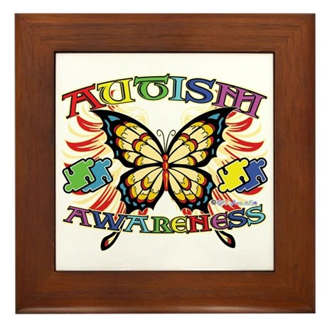 Autism Awareness Butterfly Framed Tile