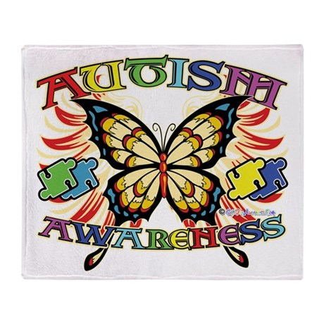 Autism Awareness Butterfly Throw Blanket