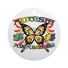 Autism Awareness Butterfly Ornament (Round)