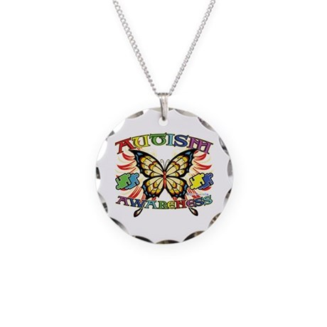 Autism Awareness Butterfly Necklace Circle Charm