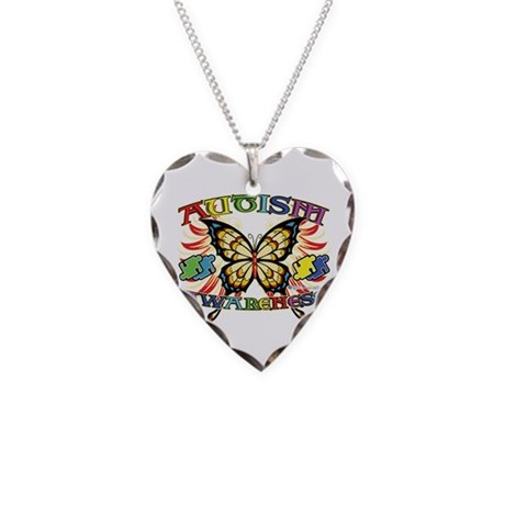 Autism Awareness Butterfly Necklace Heart Charm