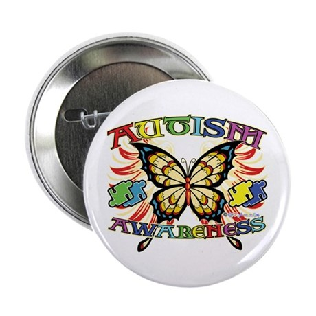 "Autism Awareness Butterfly 2.25"" Button"