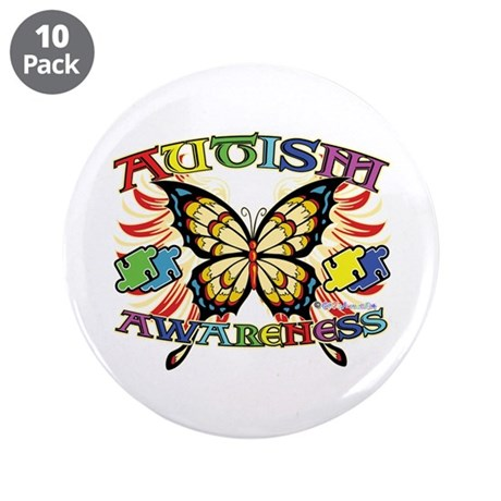 "Autism Awareness Butterfly 3.5"" Button (10 pack)"