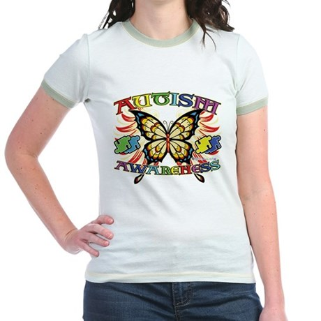 Autism Awareness Butterfly Jr. Ringer T-Shirt