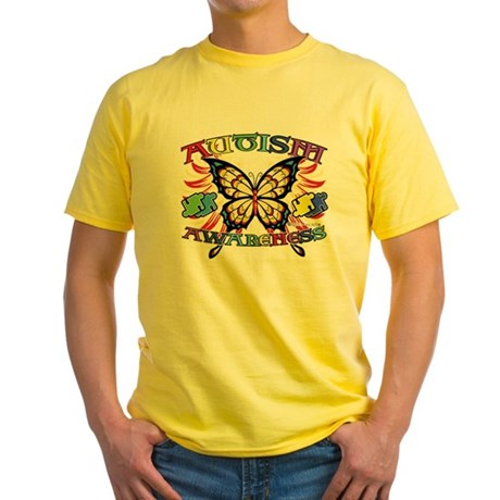 Autism Awareness Butterfly Yellow T-Shirt