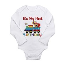 First Birthday Bear Train Long Sleeve Infant Bodys
