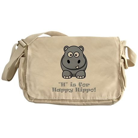 H is for Happy Hippo! Messenger Bag
