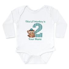 2nd Birthday Monkey Long Sleeve Infant Bodysuit