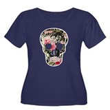 ROSES SKULL Women's Plus Size Scoop Neck Dark T-Sh