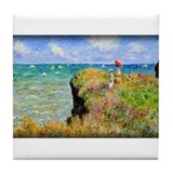 Clifftop Walk at Pourville, Monet, Tile Coaster