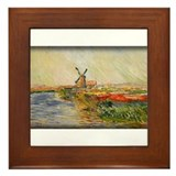 Field of Tulips in Holland, Monet, Framed Tile