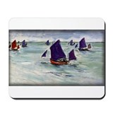 Fishing Boats off Pourville, Monet, Mousepad