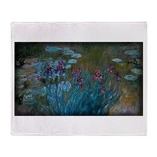 Irises and Water-Lilies Monet, Throw Blanket