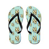 Lotsa Wheaten Scotties n Stripes Flip Flops