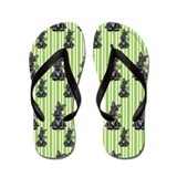 Lotsa Black Scotties n Clovers Flip Flops