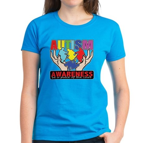 Autism Piece of the Cure Women's Dark T-Shirt