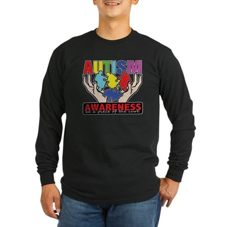 Autism Piece of the Cure Long Sleeve Dark T-Shirt