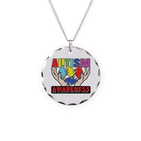 Autism Piece of the Cure Necklace Circle Charm