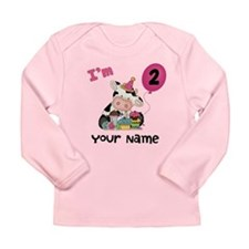 2nd Birthday Girl Cow Long Sleeve Infant T-Shirt