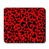 Red and Black Leopard Spot Mousepad