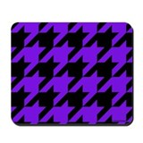 Purple and Black Houndstooth Mousepad