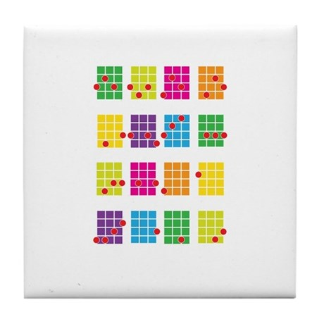 Uke Chords Colourful Tile Coaster
