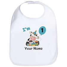 First Birthday Boy Cow Bib