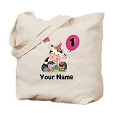 First Birthday Girl Cow Tote Bag